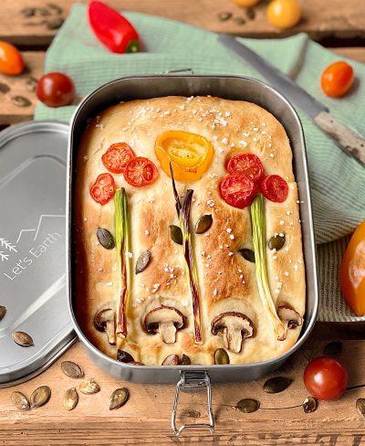 Focaccia in der Bento Box aus Edelstahl