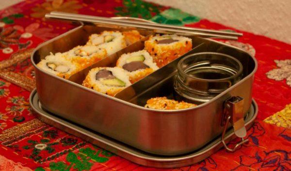 Sushi Bentobox mit Edelstahlstäbchen und Bentojar