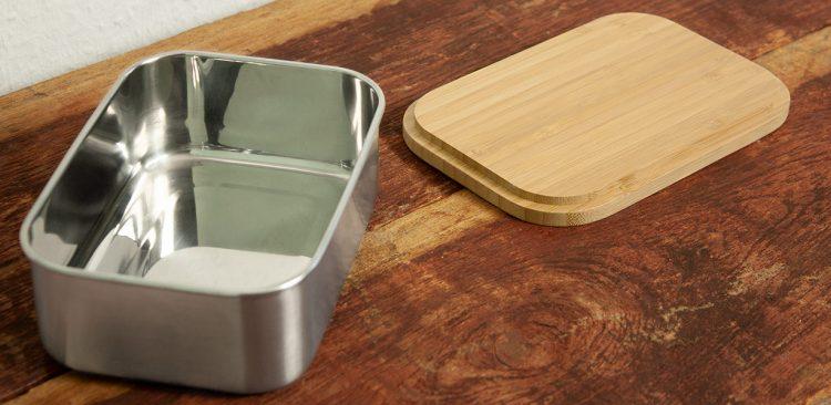 offene Edelstahl Brotdose mit Bambusdeckel