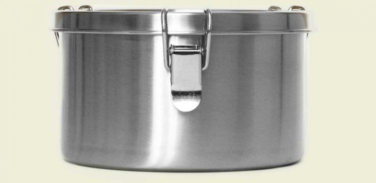 Lunchbox aus Edelstahl (Größe: XL) von vorne