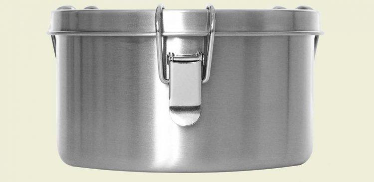 Lunchbox aus Edelstahl (Größe: L) von vorne