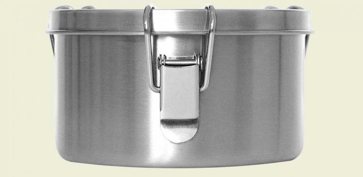 Lunchbox aus Edelstahl (Größe: M) von vorne