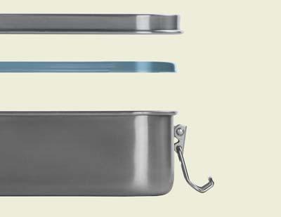 Edelstahl Brotdose mit Dichtungsring für Auslaufsicherheit