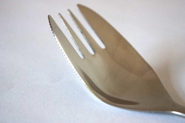 Göffel Nahaufnahme mit Messer Schneide.