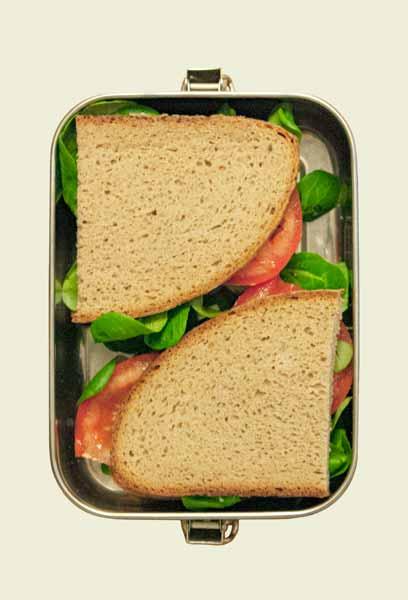Die Lunchbox zum Größenvergleich gefüllt mit Broten