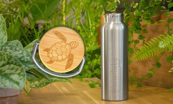 Edelstahl Trinkflasche 750 ml mit Motiv von Schildkröte