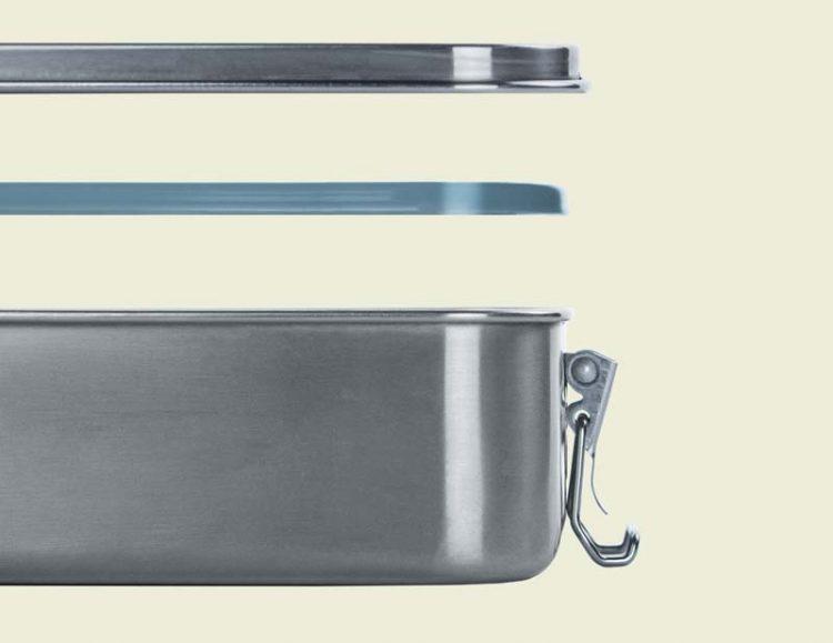 Die Edelstahl Lunchbox mit Silikondichtung und Deckel